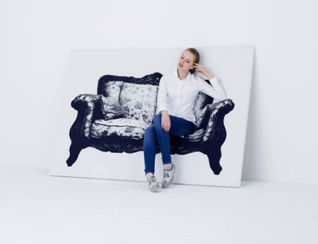 Canvas is a series of two-dimensional furniture pieces that can be displayed on the wall as works of art and, unexpectedly, can also be sat #product #furniture #design