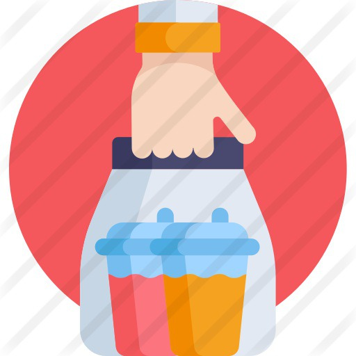 See more icon inspiration related to shipping and delivery, food and restaurant, take away, refreshment, shopping bag, beverage, juice, hand, commerce, drinks and bag on Flaticon.