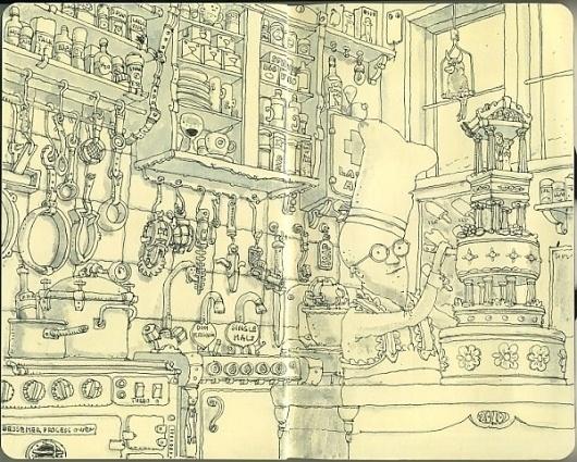 Moleskine Sketches by Mattias Adolfsson | Best Bookmarks #bakery #moleskine #sketch