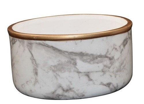 Marble Look Ceramic Dish With Gold Rim 13cm x 6cm