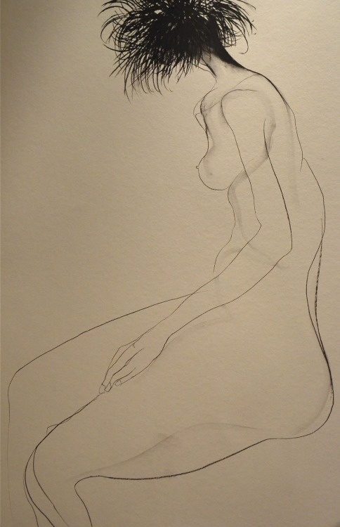 Drawing by Carmel Jenkin Uncut, charcoal on paper, 81cm x 57cm I wanted to keep this piece quiet but when I got to the head I thought stuff #pose #white #naked #woman #nude #body #black #female #illustration #and #drawing #life