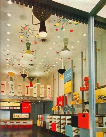 All sizes   More Barton's Bonbonniere!   Flickr - Photo Sharing! #interior #alvin #1950s #architect #gruen #victor #lustig #graphics