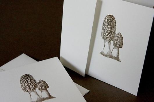Morel Mushrooms letterpress card by CabbageCreative on Etsy #mushroom #creative #letterpress #cabbage #morel