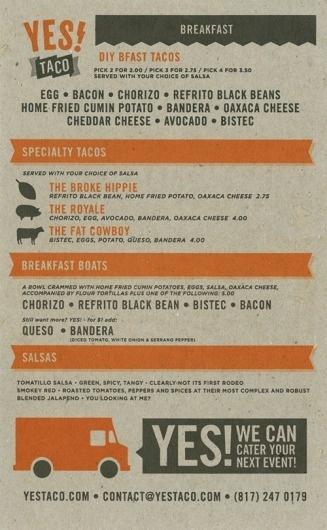 Art of the Menu: Yes! Taco #cardboard #menu #orange #brown #collateral #grey