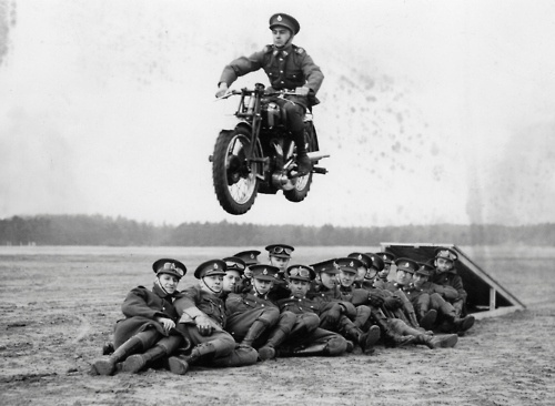 W E L L ※ F E D #soldiers #old #jump #motorcycle