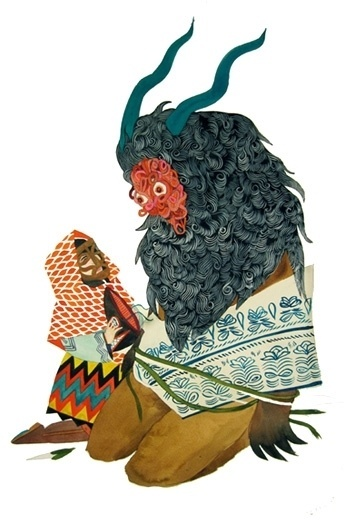 The bees made honey in the lion's skull - but does it float #stacey #russian #illustration #rozich #surreal #style