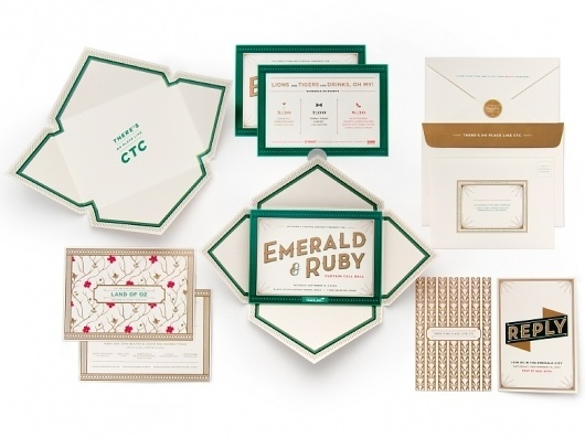 Cue | Children's Theatre Co. | Emerald & Ruby #envelopes #ivory #white #red #invitation #black #gold #green