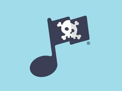 Music Piracy #crossbones #flag #design #graphic #piracy #music #skull #typography