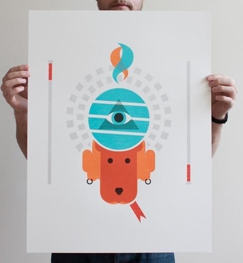 Justin LaFontaine #illustration #orange #poster #dog