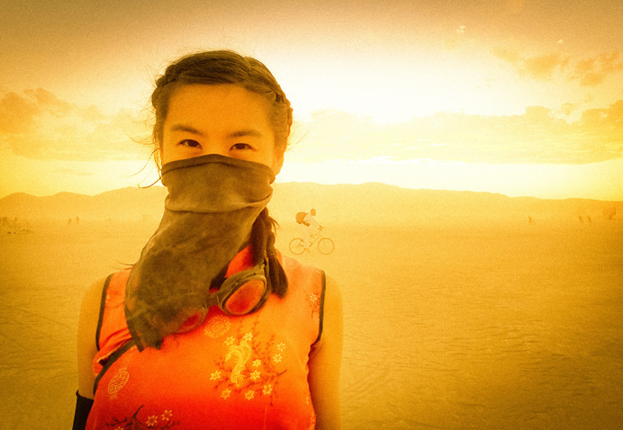 but does it float #woman #burning #man #desert #covered