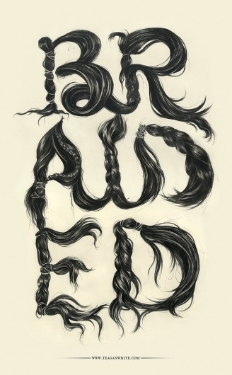 braided on the Behance Network #teagan #drawing #white #poster