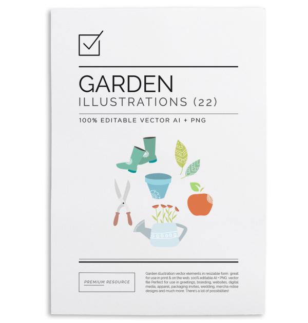 Garden Illustration & Clip Art Vector Ser $9.00 Garden illustration & clip art set for use on home & gardening related blogs, scrap-booking