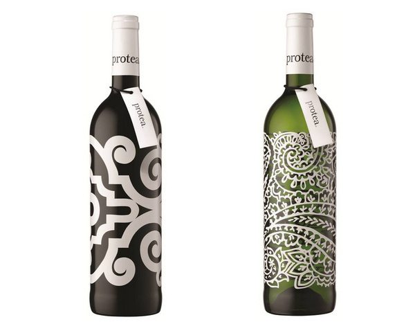 Protea xe2x80x94 The Dieline #white #pattern #packaging #graphic #wine #illustration #minimal