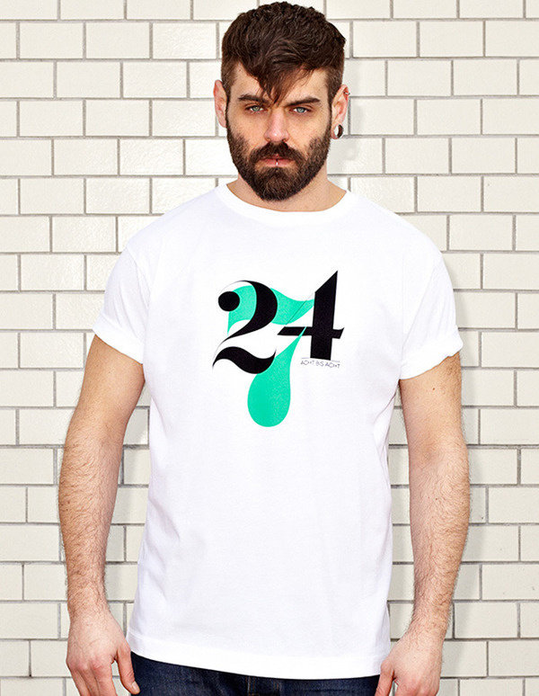 NATRI - 24/7- white t-shirt - men: twenty-four-seven - eight to eight #modern #print #design #shirt #minimal #fashion #type #typography