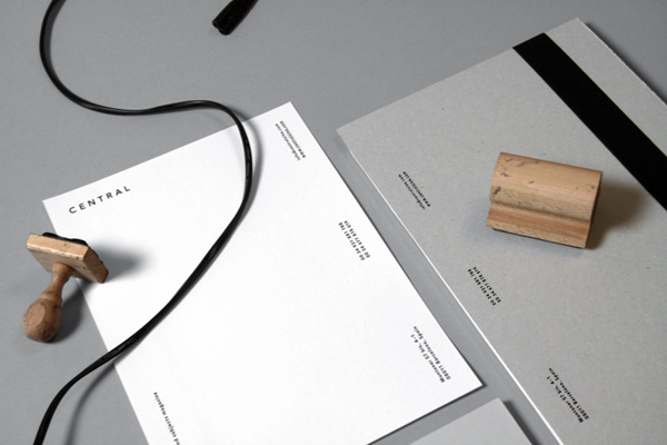 Central Magazine #branding #identity #minimal #black and white #grey #stamp