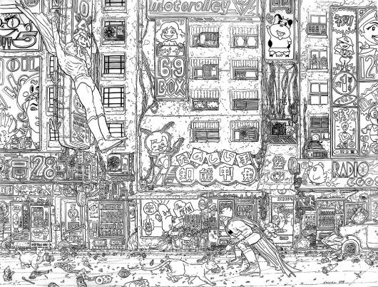 Gotham Street, in DanDos Santos's My Collection Comic Art Gallery Room #darrow #white #gotham #draw #black #illustration #geoff