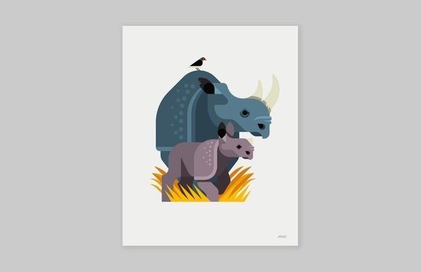 Black Rhinos Always With Honor #rhino #geometric #bird #illustration #minimal #animal