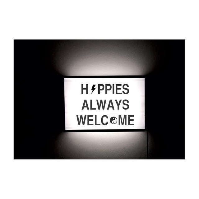 Hippies Always Welcome - Cinematic Light box by Page Thirty Three #page #a #quote #in #thirty #box #letter #three #light #typography