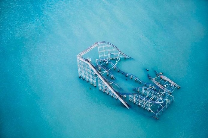 Aerial Photographs of Superstorm Sandy's Aftermath by Stephen Wilkes - LightBox #submerged #rollercoaster #fairground #coney #ride #aftermath #island #photography #storm #disaster #flood #underwater