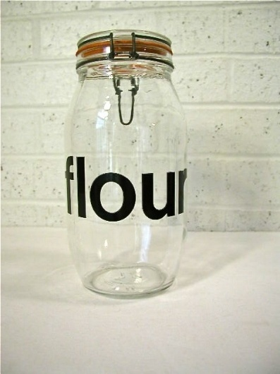Vintage Glass Flour Jar / made in France by bluebell on Etsy #helvetica #vintage
