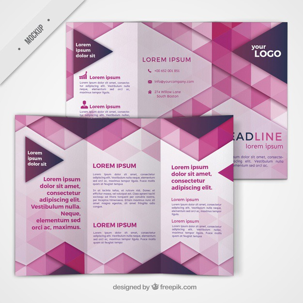 Trifold with geometric shapes in pink color Free Psd. See more inspiration related to Brochure, Flyer, Mockup, Business, Abstract, Template, Geometric, Pink, Shapes, Leaflet, Color, Text, Flyer template, Stationery, Corporate, Mock up, Company, Modern, Booklet, Polygonal, Information, Geometric shapes, Trifold, Triangles, Abstract shapes, Low poly, Up, Geometrical, Stylish, Low, Mock and Geometrical shapes on Freepik.