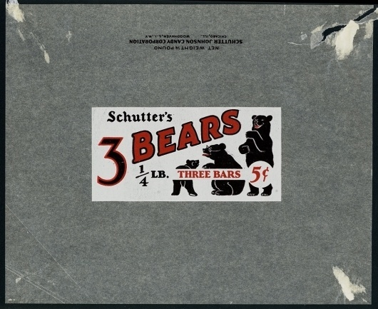 All sizes | Schutter-Johnson Candy - 3 Bears - 5-cent candy bar wrapper - 1930's | Flickr - Photo Sharing! #confectionery #mascot #1930 #packaging #candy #sweets #vintage #bears #30s