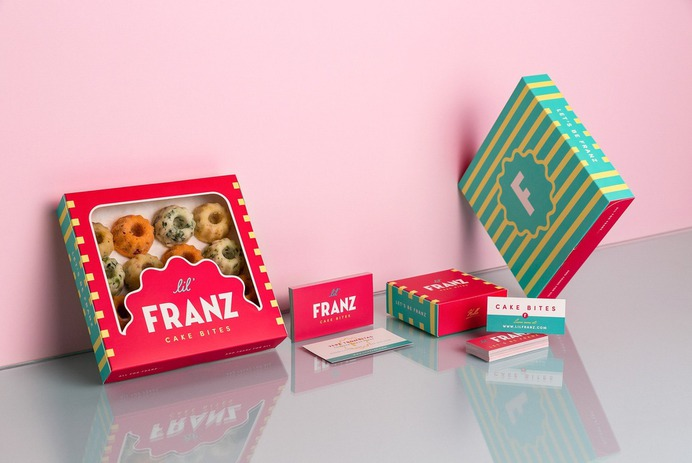Lil' Franz Cake Bites – Packaging Design & Photography #packaging #food #foodphotography #cake #houston