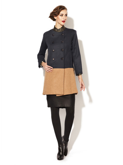 Wren Wool Combo Coat #fashion #block #color #coat