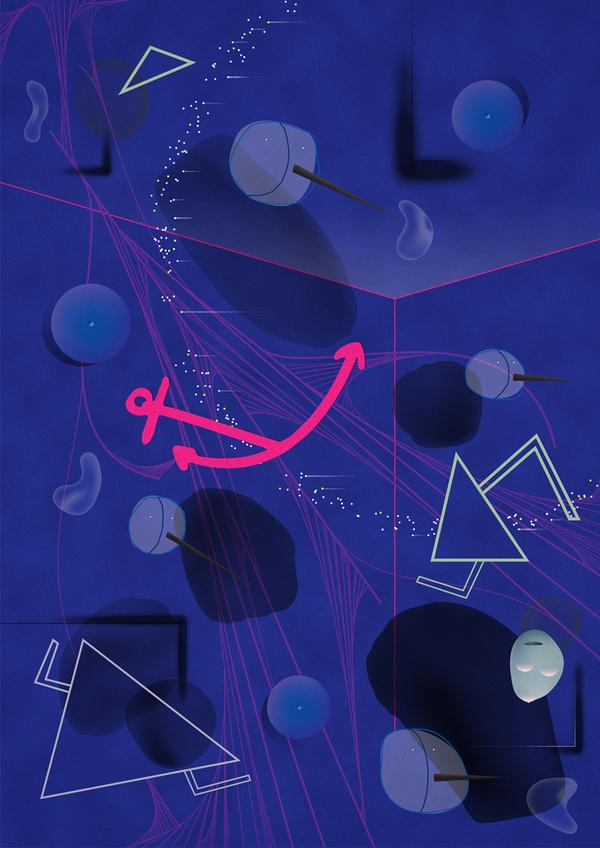 Joy Divided #abstract #edvard #joy #faces #scott #illustration #purple #blue #anchor #divided