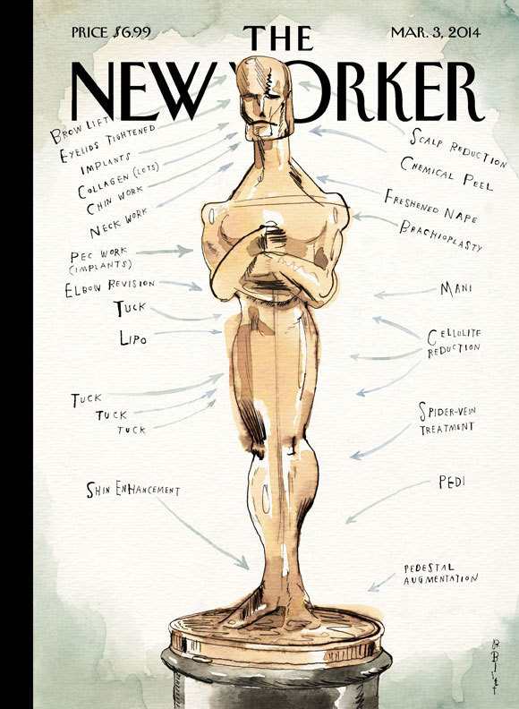 """COVER STORY: BARRY BLITT'S """"READY FOR HIS CLOSEUP"""" #surgery #oscar #vanity #statue #illustration #yorker #trophy #academy #award #cosmetic #new"""