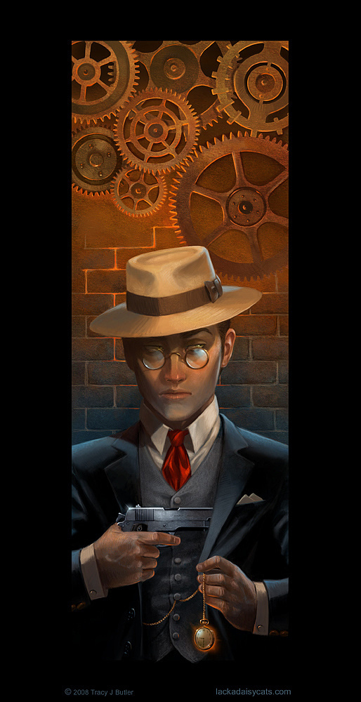 Must See Illustrations by Tracy Butler #tracy #mechanism #villain #noir #illustrations #butler #cogs