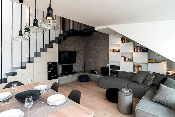 Creative Apartment Interior Sloped Roof And Renovated Image Ideas Inspiration On Designspiration