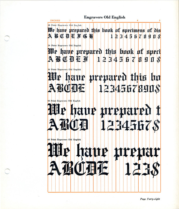 Engravers Old English font specimen #type #blackletter #specimen