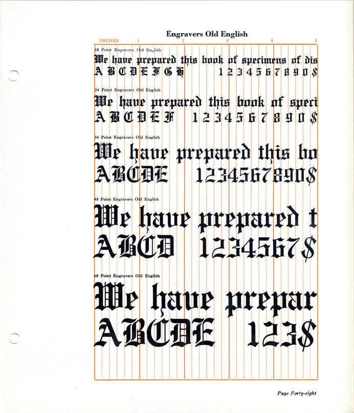 Engravers Old English Font Specimen Type Blackletter