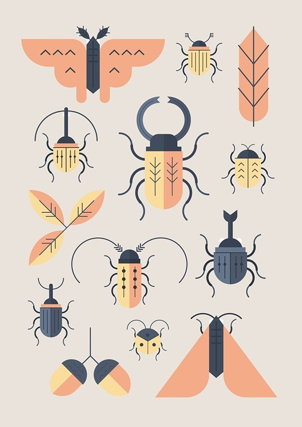 Sotto le foglie on Behance #icon #picto #symbol #insects