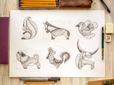 Animal logo sketches by Ink Nation #ink #nation #design #drawing #circles #illustration #logo #animal #sketch
