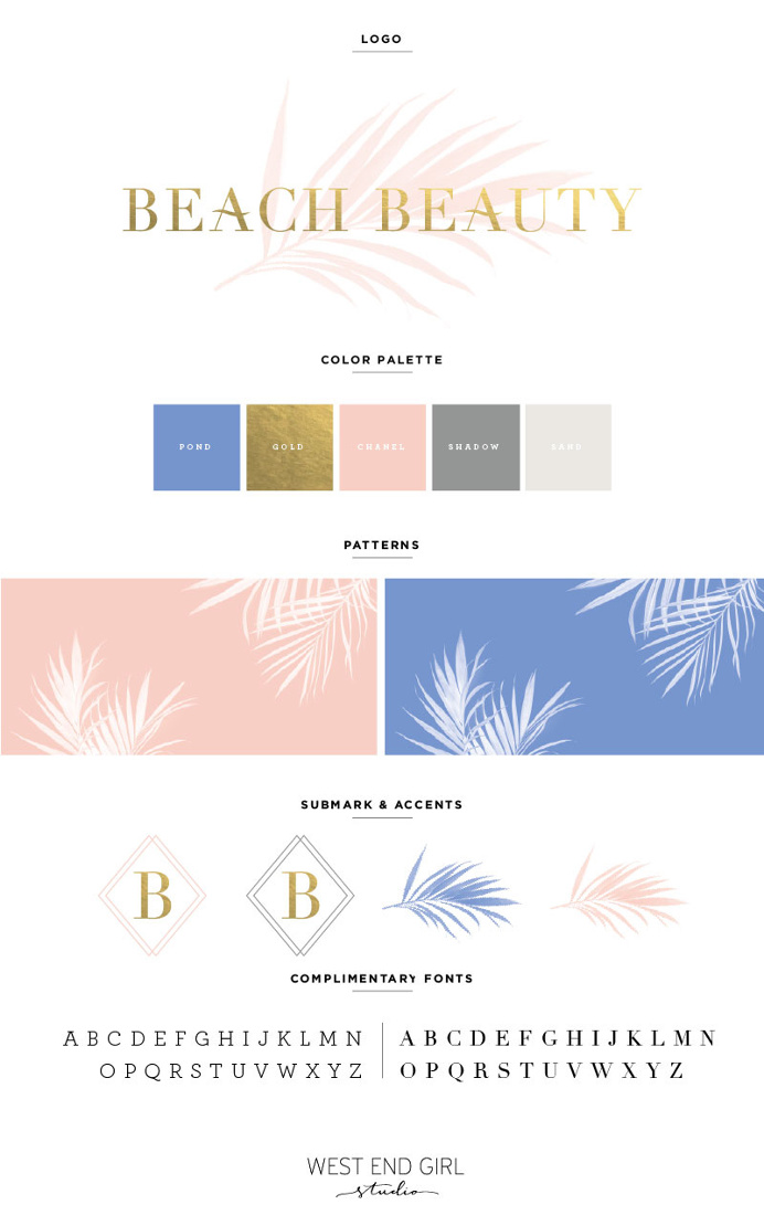 branding, beach branding, gold foil, pink and blue, logo, design, graphic design, portfolio, mood board