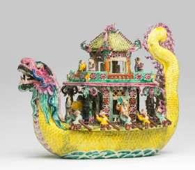 Polychrome decorated ship in dragon shape, made of porcelain #porcelain