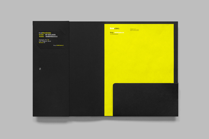 Briefcase branding by anagrama moterey mexico mindsparkle mag business card corporate design stationery minimal yellow geometry black tape l