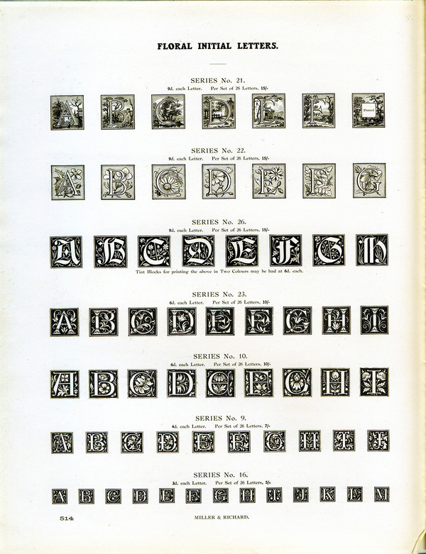 These initial letters are from Miller and Richard. Makes sure to zoom in and check out the pastoral scenes in the top row. #type #specimen #typography
