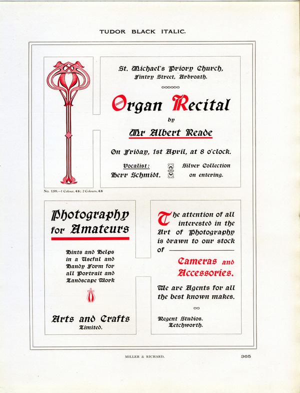 Type Specimen of Tudor Black Italic by Miller and Richard. #type #specimen #typography