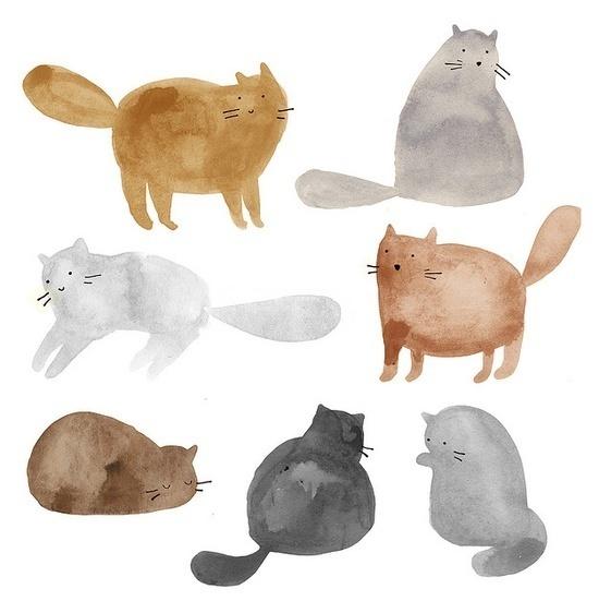 cats, cats, cats #illustration #watercolor #cat