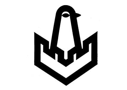 Logo for Kansa-Yhtiödesigned by Fritjof Pedersén, Finland 1961-1962. #trademark #modern #icon #bird #identity #vintage #mid #century #logo #castle