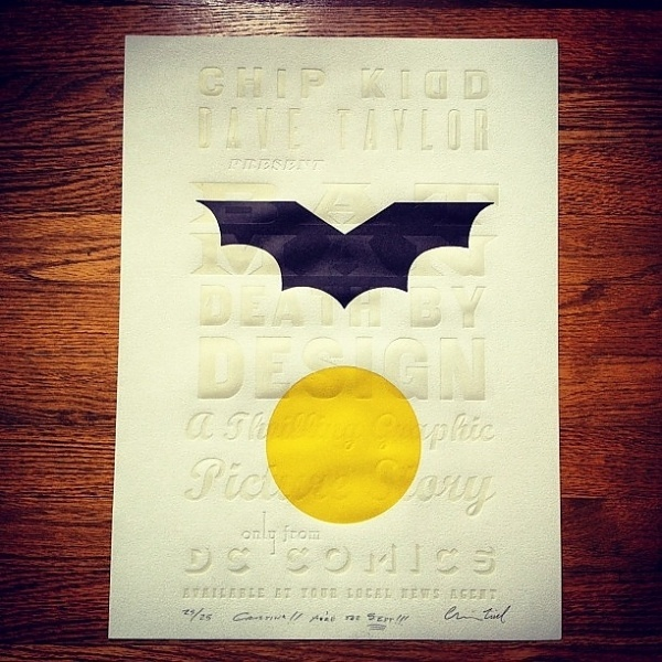 3efdc52ac17a11e1be6a12313820455d_7.jpg (JPEG Image, 612×612 pixels) #blind #kidd #superhero #emboss #chip #letterpress #batman #poster