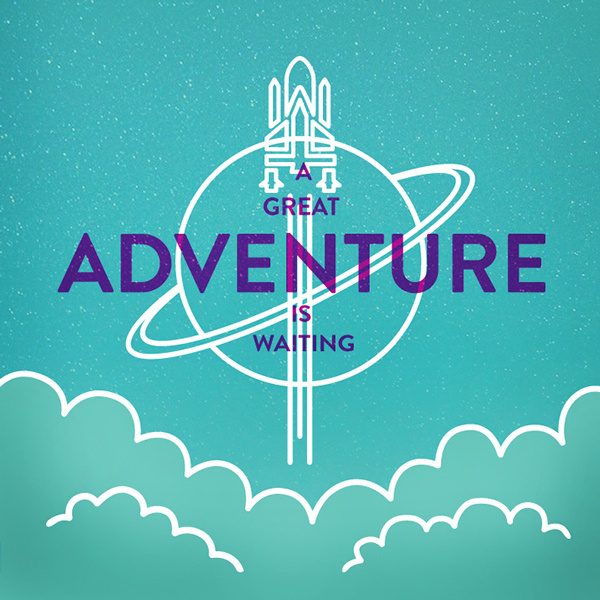 A Great Adventure Is Waiting #adventure #icon #design #travel #space #illustration #rocket #type