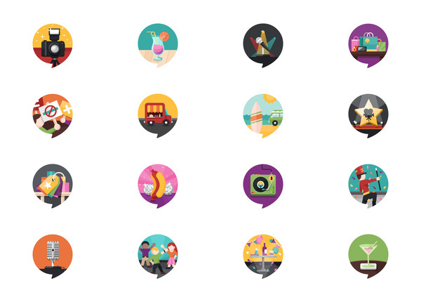 Activites and Events Location iPhone App Icons #flat #vector #print #design #color #illustration