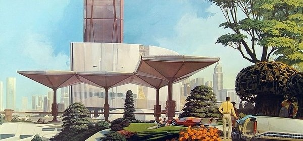 Retro-Futuristic Pavillion #futurism #pavillion #car #retro