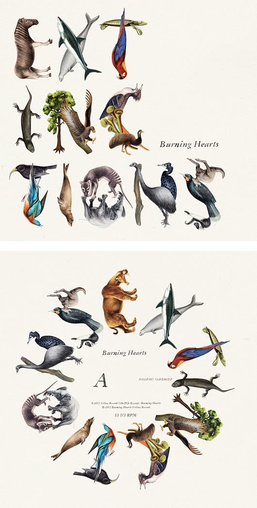 Extinctions: Burnign Hearts Album Cover by Emil Bertell #animals #illustration #typography