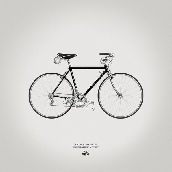 Silence Television new vintageprints #white #bicycle #print #black #illustration #vintage #bike #and #bw