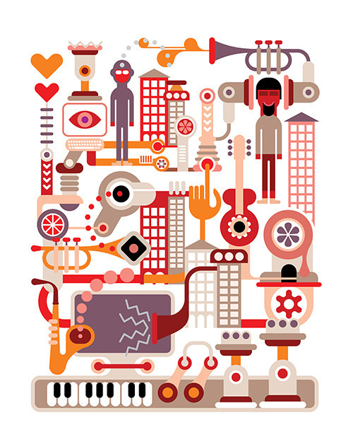 Music City - vector illustration #saxophone #musical #eye #illustration #music #hand #concert #nightclub #computer #abstract #guitar #machine #festival #trumpet #design #building #key #club #heart #party #piano #city #game #sax #vector #display #graphic #virtual #sound #street #console